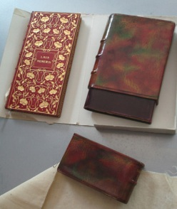 A peek at one of the carefully preserved and beautifully bound books by Toof and Co. to be included in the exhibit; private collection.