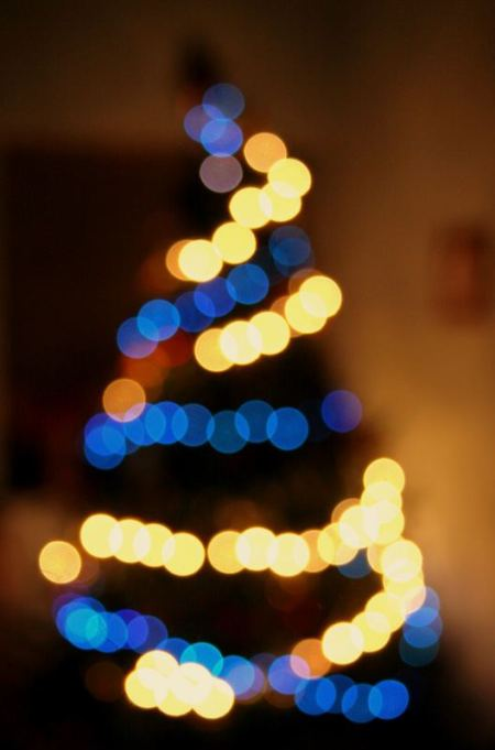 An out-of-focus christmas tree demonstrating bokeh, 10 February 2012, Rushilf