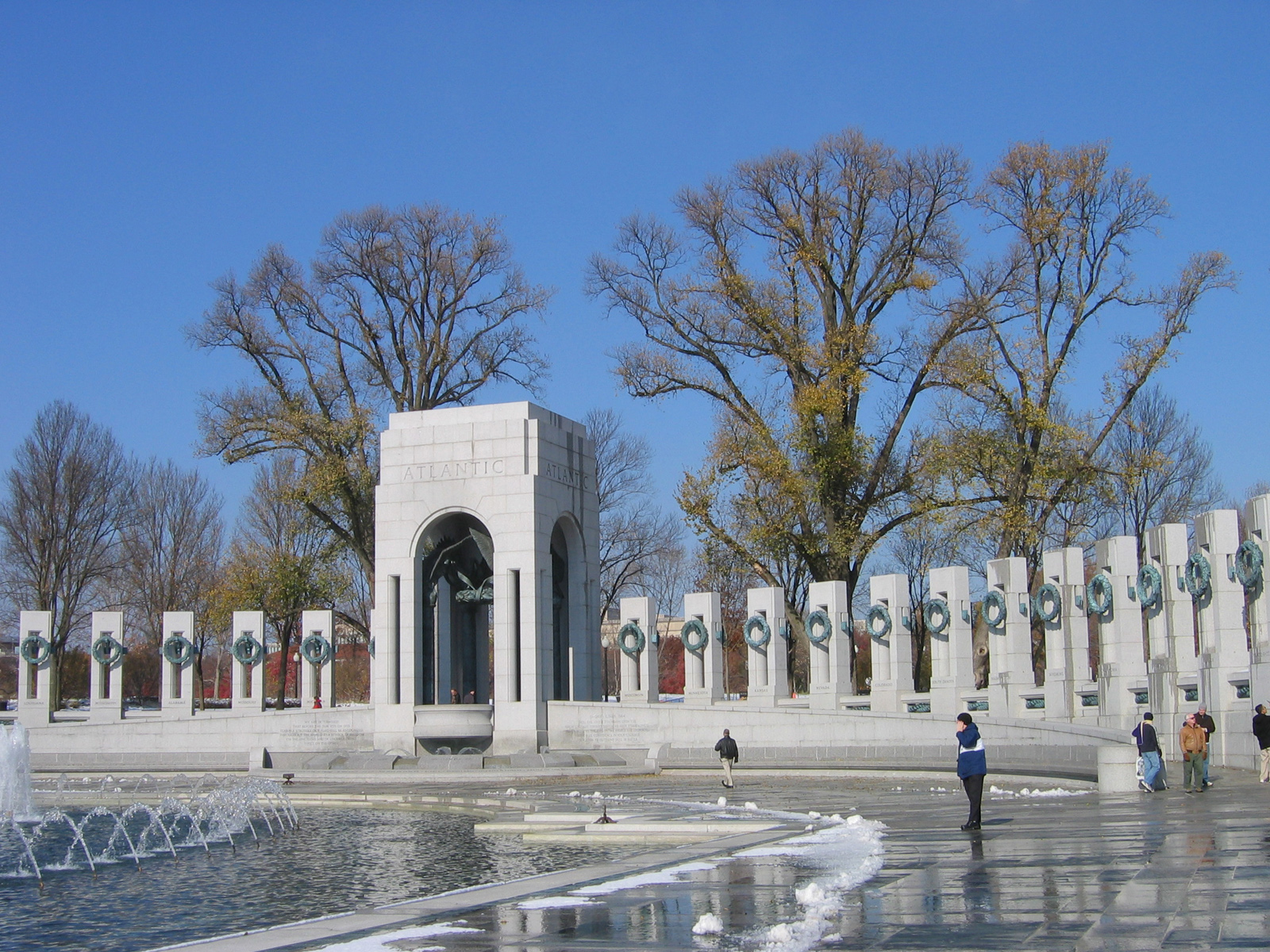 National World War II Memorial, on the National Mall in Washington, D.C. Photo taken by Kmf164 on December 6, 2005.