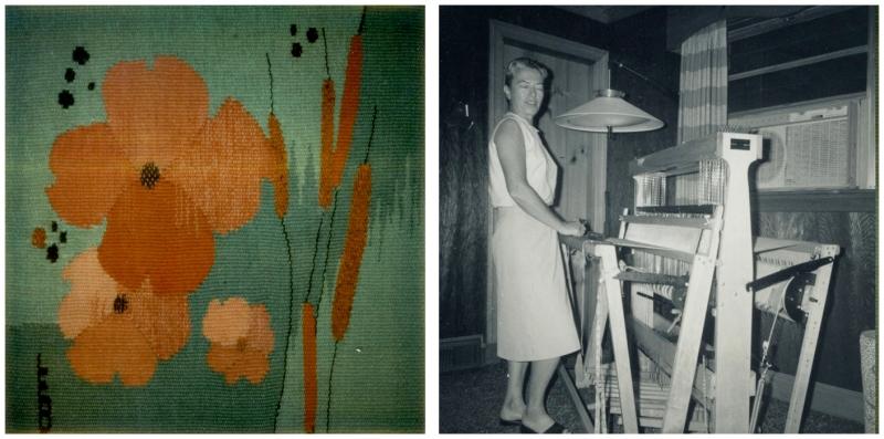 Untitled weaving by Eva Bernhardt / Eva Bernhardt in her studio
