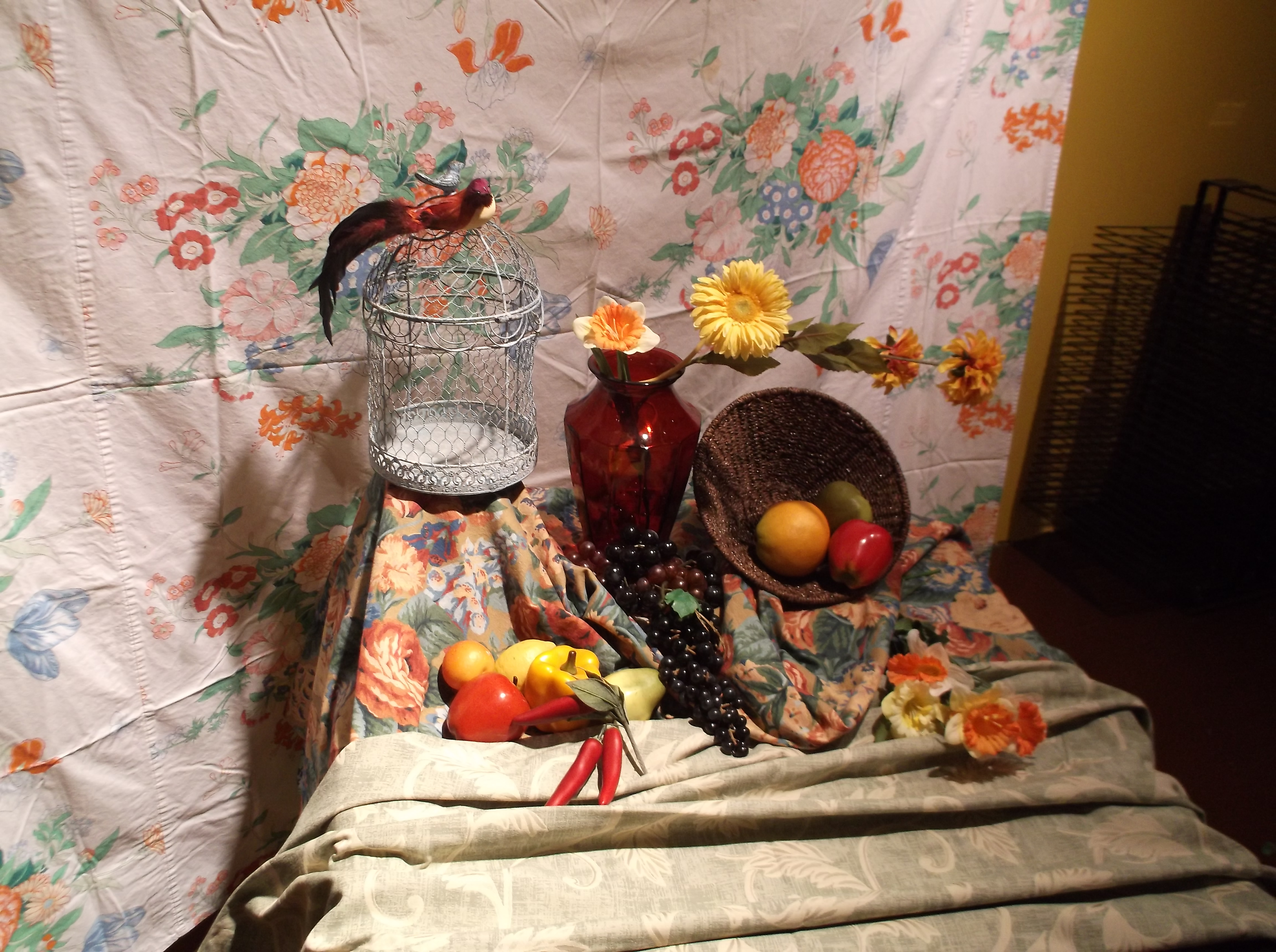 Students viewed a still life model through a viewfinder to learn about a picture's frame of reference.