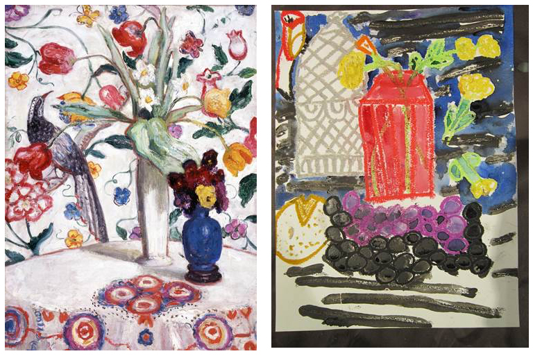 Left: Florine Stettheimer, American, 1871 – 1944, Still Life Number One with Flowers (Flowers Against Wallpaper), ca. 1915, Oil on canvas, Memphis Brooks Museum of Art, Memphis, TN; Gift of the Estate of Miss Ettie Stettheimer  60.21 Right: Student work from Kingsbury Elementary