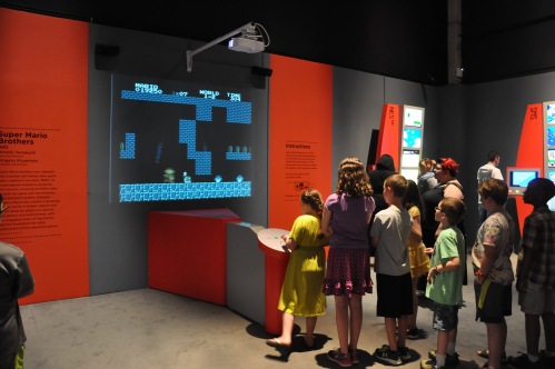 Kids at the Art of Video Games exhibition.